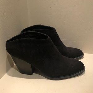 Brash black slip on heeled bootie mule size 8